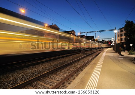 Swiss train light trail - stock photo