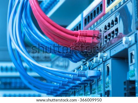 switch and ethernet cables,Data Center Concept. - stock photo