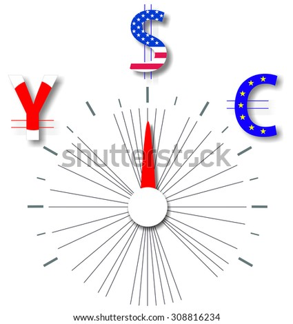 Switch between the dollar, euro and yen - stock photo
