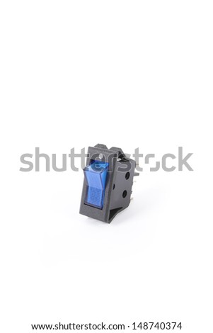 switch, blue service twin switch electronic part - stock photo