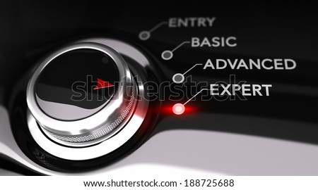 Switch button positioned on the word expert, black background and red light. Conceptual image for illustration of training or expertise level. - stock photo