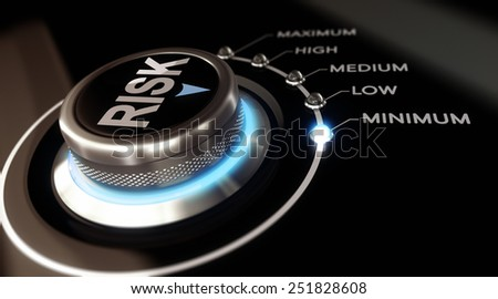 Switch button positioned on the word minimum, black background and blue light. Conceptual image for illustration of Risk management or assessment. - stock photo