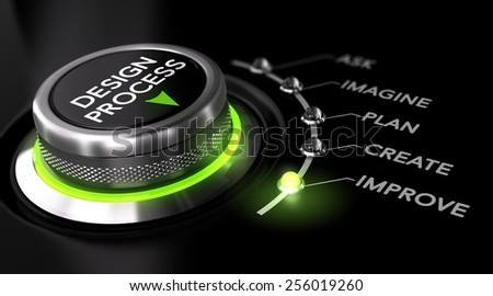 Switch button with green light, black background. Conceptual image for illustration of engineering design process. - stock photo