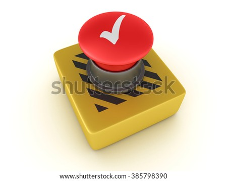 Switch Buttons Series - CHECK MARK - High Quality 3D Render  - stock photo