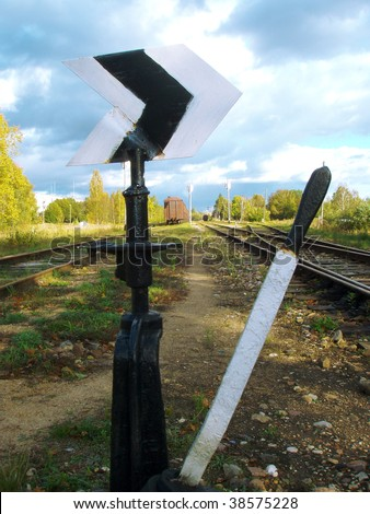 Switch for changing the train's track - stock photo