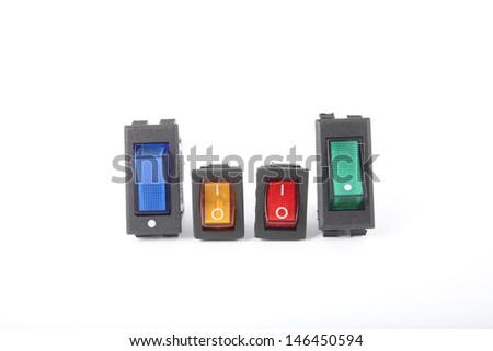 switch, four colors service switch electronic part - stock photo