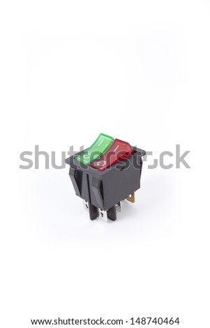 switch, green and red service twin switch electronic part - stock photo