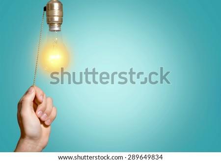 Switch, Light Switch, Light Bulb. - stock photo