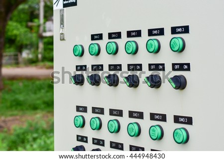 Switch off the electric power supply in the control cabinet. - stock photo