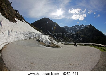 switchback, mountain pass road, S�¶lkpass, Austria - stock photo