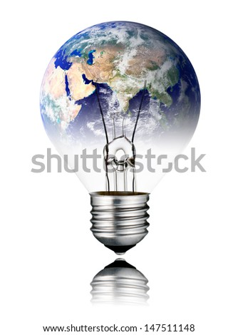 Switched OFF Lightbulb in the Shape of the World with Asia continent. Screw Round Bulb with Reflection Isolated on White Background - stock photo