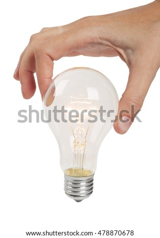 Switched on lamp in woman hand isolayed on white