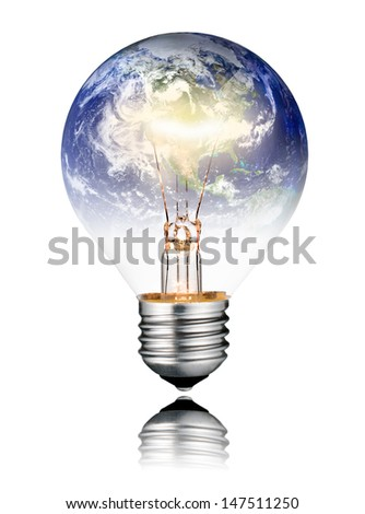 Switched ON Lightbulb in the Shape of the  World - North America, USA, Canada, Mexico. Screw Round Bulb with Reflection Isolated on White Background - stock photo