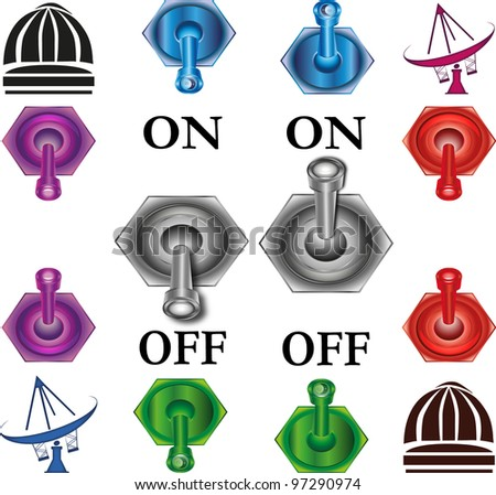 Switches collection with symbols of aerial and observatory - stock photo