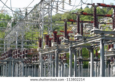 switches of a big high voltage power station - stock photo