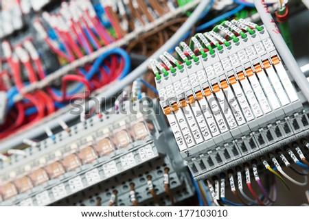 Switchgear cabinet detail image - stock photo