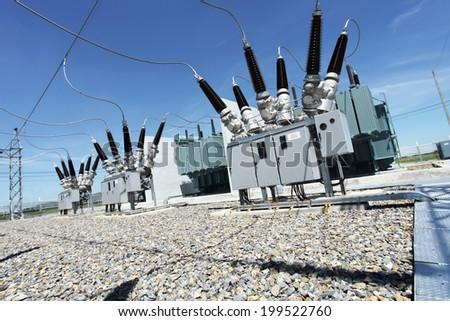 Switchgear equipment of dead tank circuit breaker - stock photo