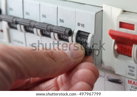 switching mcb micro circuit breaker on stock photo (royalty free automotive fuse box switching an mcb (micro circuit breaker) on a uk domestic electrical consumer unit or