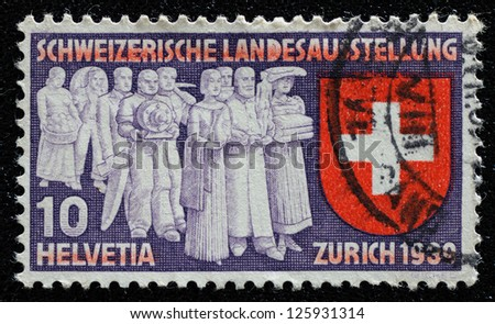 SWITZERLAND - 1939: A stamp printed in Switzerland to commemorate the Switzerland national exhibition, Zurich 1939, circa 1939