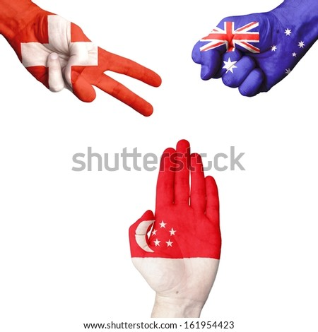 Switzerland Australia Singapore rock-paper-scissors