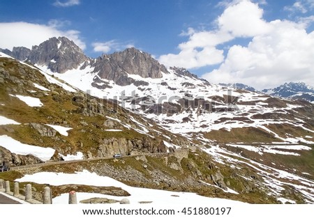 Switzerland: Canton Uri. Alpine landscape along the road to the Furka Pass.