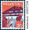 "SWITZERLAND - CIRCA 1973: A stamp printed in Switzerland from the ""Landscapes "" issue shows Erlenbach in Simmental (Bern), circa 1973. - stock photo"
