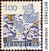 """SWITZERLAND - CIRCA 1982: A stamp printed in Switzerland from the """"Signs of the Zodiac and Landscapes"""" issue shows Aquarius and Old Berne, circa 1982. - stock photo"""