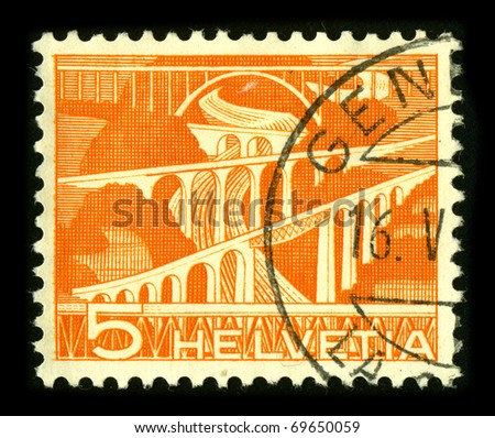 SWITZERLAND - CIRCA 1980: A stamp printed in SWITZERLAND shows image of the Bridges Switzerland, circa 1980.