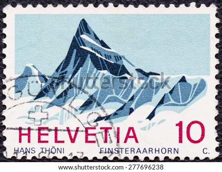 SWITZERLAND - CIRCA 1980: A stamp printed in Switzerland shows Matterhorn, Swiss Alps, circa 1980 - stock photo