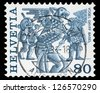 "SWITZERLAND - CIRCA 1977: A stamp printed in Switzerland shows Regional Folk Customs with inscriptions ""Vogel Gryff, Basel"", from the series ""Folk Customs"", circa 1977 - stock photo"