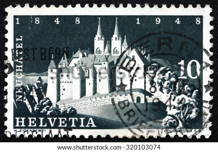 SWITZERLAND - CIRCA 1948: a stamp printed in the Switzerland shows Castle at Neuchatel, circa 1948