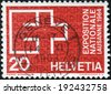 SWITZERLAND - CIRCA 1963: a stamp printed in the Switzerland shows EXPO Emblem, Swiss National Exhibition, Lausanne, 1964, circa 1963 - stock photo