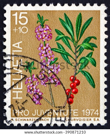 SWITZERLAND - CIRCA 1974: a stamp printed in the Switzerland shows Laurel, Laurus Nobilis, Evergreen Tree or Large Shrub, circa 1974 - stock photo