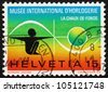 SWITZERLAND - CIRCA 1973: a stamp printed in the Switzerland shows Man and Time, Opening of the International Clock Museum, La Chaux-de-Fonds, Switzerland, circa 1973 - stock photo