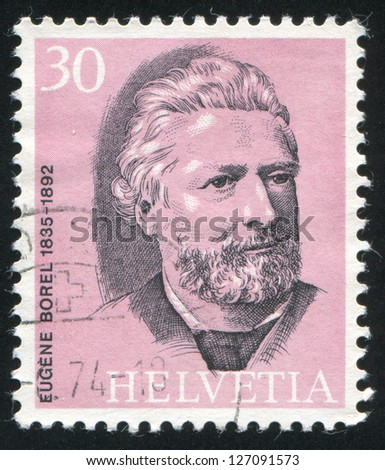 SWITZERLAND - CIRCA 1974: stamp printed by Switzerland, shows Eugene Borel, circa 1974