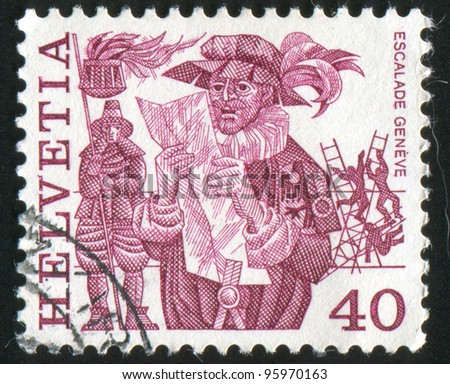 SWITZERLAND - CIRCA 1979: stamp printed by Switzerland, shows Herald reading proclamation and men, circa 1979