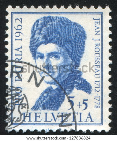 SWITZERLAND - CIRCA 1962: stamp printed by Switzerland, shows Jean Jacques Rousseau, circa 1962