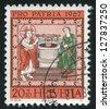 SWITZERLAND - CIRCA 1967: stamp printed by Switzerland, shows Jesus and the Samaritan Woman at the Well, circa 1967 - stock photo