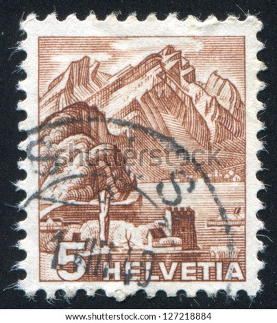 SWITZERLAND - CIRCA 1936: stamp printed by Switzerland, shows Mt. Pilatus, circa 1936