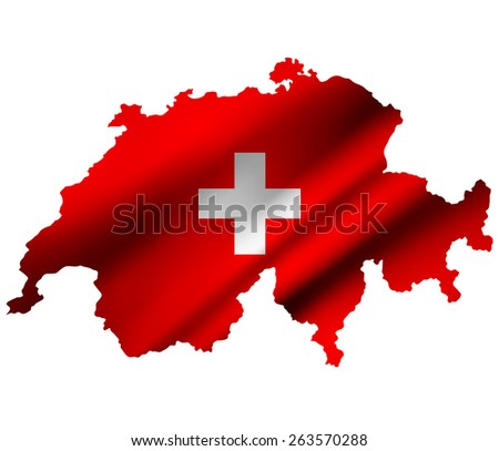 Switzerland contour map with country flag. Raster version.