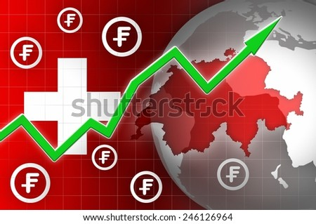 switzerland currency growth up news background illustration - stock photo
