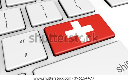 Switzerland digitalization and use of digital technologies concept with the Swiss flag on a computer key 3d illustration.