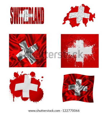 Switzerland flag and map in different styles in different textures