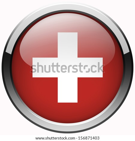 switzerland flag gel metal button