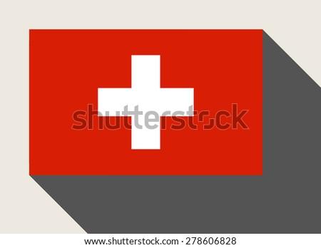Switzerland flag in flat web design style. - stock photo