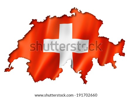 Switzerland flag map, three dimensional render, isolated on white