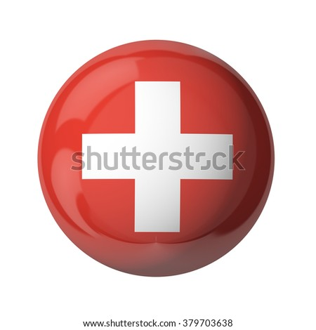 Switzerland flag of UK isolated on white