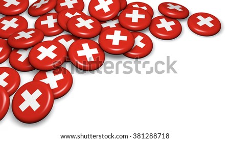 Switzerland flag on badges and white background image for Swiss national day events, holiday, memorial and celebration with copyspace.