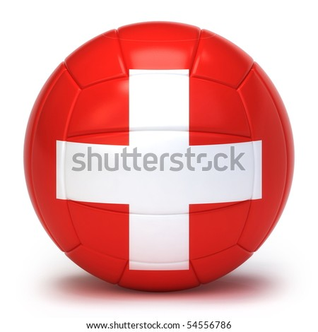Switzerland flag on volleyball ball isolated over white