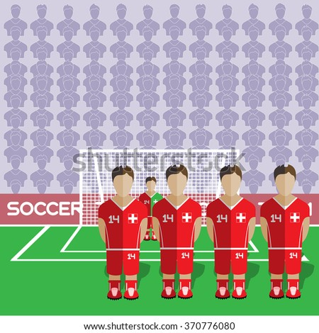 Switzerland Football Club Soccer Players Silhouettes. Computer game Soccer team players big set. Sports infographic. Football Teams in Flat Style. Goalkeeper Standing in a Goal. Raster illustration. - stock photo